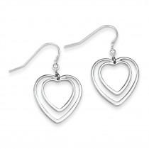 Double Heart Dangle Earrings in Sterling Silver