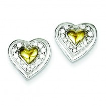 Vermeil CZ Heart Post Earrings in Sterling Silver