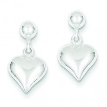 Puffed Heart Post Earrings in Sterling Silver