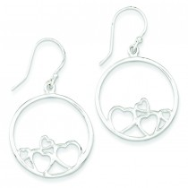 Open Hearts Circle Dangle Earrings in Sterling Silver