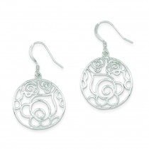 Round Fancy Dangle Earrings in Sterling Silver
