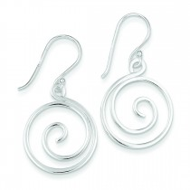 Swirl Design Dangle Earrings in Sterling Silver