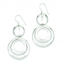 Fancy Circle Dangle Earrings in Sterling Silver