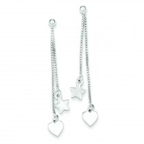 Hearts Stars Dangle Post Earrings in Sterling Silver