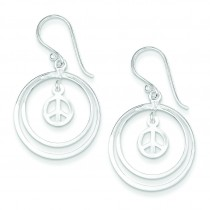 Double Circles W Small Peace Symbol Dangle Earrings in Sterling Silver