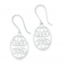 Oval Filigree Dangle Earrings in Sterling Silver