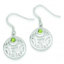 Peridot Round Dangle Earrings in Sterling Silver