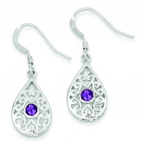 Amethyst Fancy Filigree Dangle Earrings in Sterling Silver