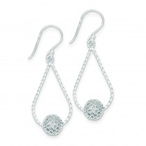 Teardrop W Bead Dangle Earrings in Sterling Silver