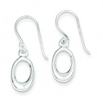 Solid Mini Oval Dangle Earrings in Sterling Silver