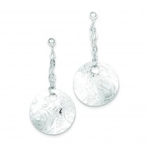 Textured Fancy Circle Dangle Post Earrings in Sterling Silver