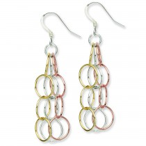 Tri Colored Vermeil Dangle Earrings in Sterling Silver