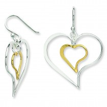 Golddouble Twisted Heart Dangle Earrings in Sterling Silver