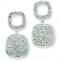 Open CZ Square Hanging Full Square CZ Post Dangle Earring in Sterling Silver