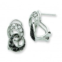 CZ Interlocking Loop Omega Back Earrings in Sterling Silver