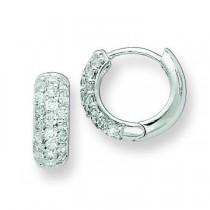 CZ Hinged Hoop Earrings in Sterling Silver