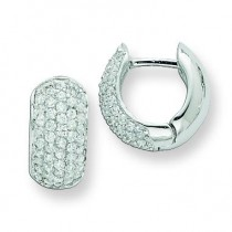 CZ Hinged Hoop Earrings in Sterling Silver