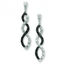 And Black Rhodium W Black And White CZ Twisted Post Earring in Sterling Silver