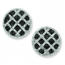 Black White CZ Round Omega Back Earrings in Sterling Silver