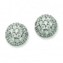 CZ Ball Post Earrings in Sterling Silver