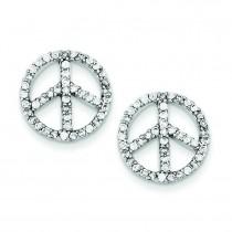 CZ Peace Symbol Post Earrings in Sterling Silver