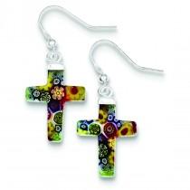 Multicolored Glass Cross Dangle Earrings in Sterling Silver