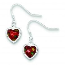 Red Glass Heart Dangle Earrings in Sterling Silver