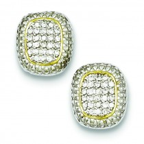 Vermeil Rectangle Pave CZ Post Earrings in Sterling Silver