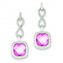 Pink Square CZ Post Dangle Earrings in Sterling Silver