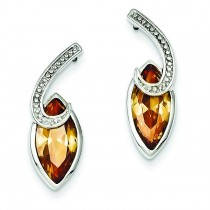 Marquise Champagne CZ Post Earrings in Sterling Silver