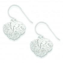 Woven Puffed Heart Dangle Earrings in Sterling Silver