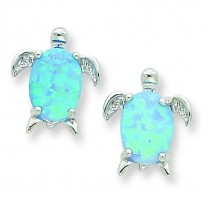 Created Opal Turtle Post Earrings in Sterling Silver