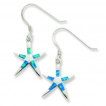 Created Blue Opal Inlay Flat Starfish Dangle Earrings in Sterling Silver