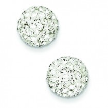 White Swarovski Crystal Post Earrings in Sterling Silver