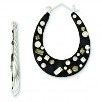 Enamel Preciosa Crystal Reversible Hoop Earrings in Sterling Silver
