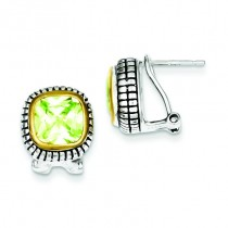 Goldantiqued Light Green CZ Earrings in Sterling Silver