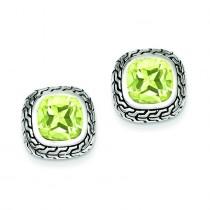 Antiqued Green CZ Earrings in Sterling Silver