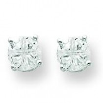 Round Basket Set CZ Stud Earrings in Sterling Silver