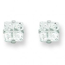 Square CZ Prong Stud Earrings in Sterling Silver