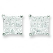 Square CZ Basket Set Stud Earrings in Sterling Silver