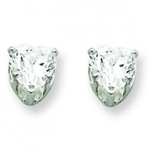 Heart Prong CZ Stud Earrings in Sterling Silver