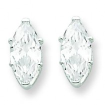 Marquise Stud Earrings in Sterling Silver