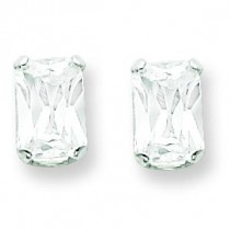 Emerald Stud Earrings in Sterling Silver