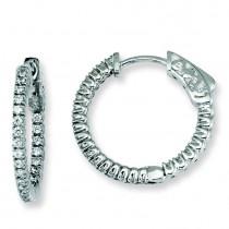 CZ Round Hoop Earrings in Sterling Silver