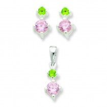 Pink Green CZ Earrings Pendant Set in Sterling Silver