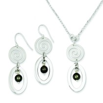 Simulated Pearl Drop Necklace Earrings Set in Sterling Silver