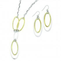 Vermeil Drop Necklace Earring Set in Sterling Silver