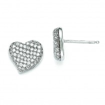 CZ Heart Post Earrings in Sterling Silver