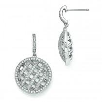 CZ Round Dangle Post Earrings in Sterling Silver