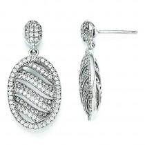 CZ Oval Post Earrings in Sterling Silver